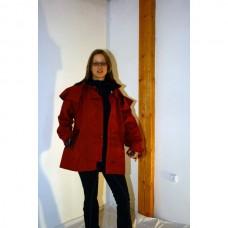 Grazier jacket, Australská nepromokavá bunda s koženým límcem ve vínové barvě a velikosti 4 /38-40/
