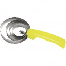 Škrabka, metalické hřbílko na koně se žlutým držátkem