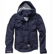 Jezdecká, sportovní nepromokavá bunda, větrovka s odepínacími rukávy v modré barvě a velikosti L a unisex provedení.