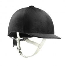 Jezdecká tříbodová luxusní přilba od značky Hoze v černé barvě  a koženými řemínky ve velikosti 59