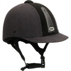 Jezdecká přilba od značky Horka v šedo - černé barvě a velikosti 55