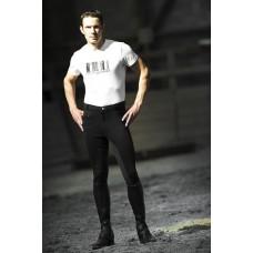 Jezdecké pánské kalhoty Pro s celokoženým sedem v bílé barvě