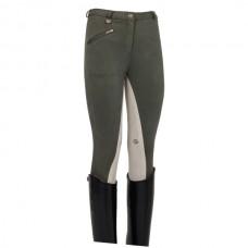 Dámské jezdecké kalhoty s béžovým celokoženým  sedem v olivové barvě