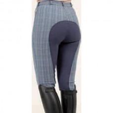 Dámské jezdecké kostkované kalhoty s celokoženým sedem rajtky Lifestyle-42