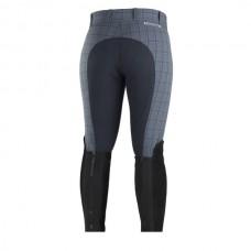 Dámské jezdecké kalhoty s celokoženým sedem,kostkované kombinace tm.modré a šedé barvy ve velikosti 36