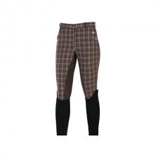 Dámské jezdecké kalhoty kostkované hnědé s celokoženým sedem a velikosti 44