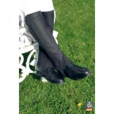 Minichaps  pro jezdce  na koni značky AWA v kombinaci s elastanem a  kůží, pracovní minichaps