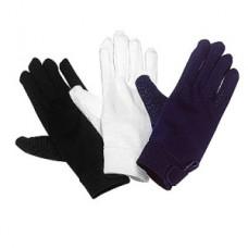 Jezdecké bavlněné rukavice za super cenu s protiskluzovou dlaní a zapínáním ha hřbetě ruky