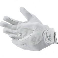 Elastické rukavice pro jezdce na koni  s umělou kůží v bílé barvě a velikosti XS