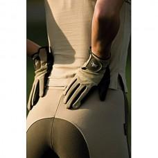 Jezdecké rukavice s vystuženou dlaní v khaki barvě a velikosti XS