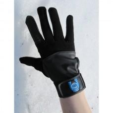 Unisex jezdecké pánské i dámské  rukavice, elastické  v kombinaci s uměloukůží  v černé barvě.