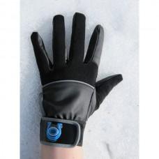 Unisex jezdecké pánské i dámské  rukavice, elastické  v kombinaci s umělou kůží  v černo šedé barvě.
