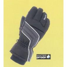 Zimní dětské jezdecké rukavice v černo šedé barvě
