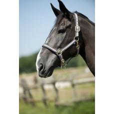 Nylonová ohlávka na koně proužkovaná v šedo růžové barvě a velikosti full