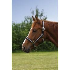 Nylonová ohlávka na koně proužkovaná v černo šedé barvě a velikosti full