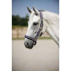 Nylonová ohlávka na koně proužkovaná v modro růžové barvě a velikosti full