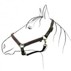 Ohlávka na koně nylonová  RIDING WORLD v barvě béžová/oranž a velikosti full