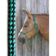 Ohlávka na koně  provazová v modro černé barvě