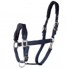 Ohlávka pro koně de luxe podložená fleesem pro maximální pohodlí v modré barvě a velikosti full