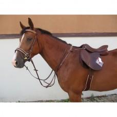 Poprsák  a martingal na koně v jednom, kožený, v hnědo bílé barvě a velikosti Cob