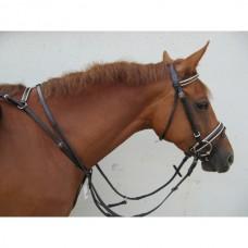 Poprsák  a martingal na koně v jednom, kožený, v černo bílé barvě a velikosti Cob