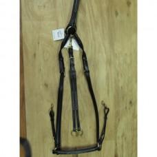 Poprsák na koně kožený s martingalem v luxusním provení a černé barvě