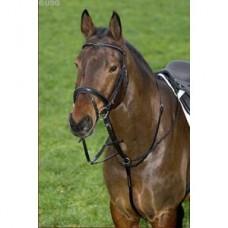 Martingal k uzdečce na koně se stříbrným zdobením, velikost Full, černá barva, kožený