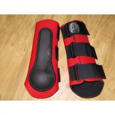 Neoprénové chrániče na zadní nohy koně v červené barvě a velikosti 2 /odpovídá vel. cob - full/