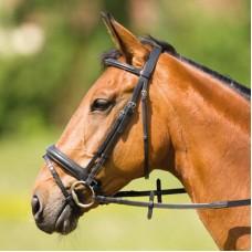 Uzdečka na koně  se švédským/kombinovaným nánosníkem v hnědé barvě a velikosti cob