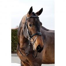 Uzdečka na koně s kombinovaným nánosníkem v hnědé barvě a velikosti Pony
