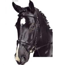 Uzdečka Diamant-černá kůže, velikost cob,full, uzdečka na koně s otěžemi