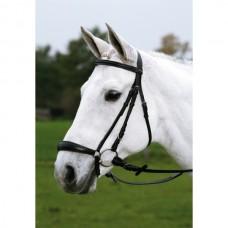 Uzdečka na koně s hanoverským nánosníkem-černá - velikost cob s otěžemi