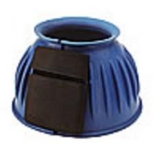 Gumové zvony chránící pakty koně se zapínáním na suchý zip v modré barvě a velikosti M