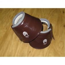Plastické zvony pro koně na suchý zip v hnědé barvě a velikosti 75-80mm - cob