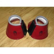 Plastické zvony pro koně  na suchý zip v červené barvě a velikosti 75-80mm - cob
